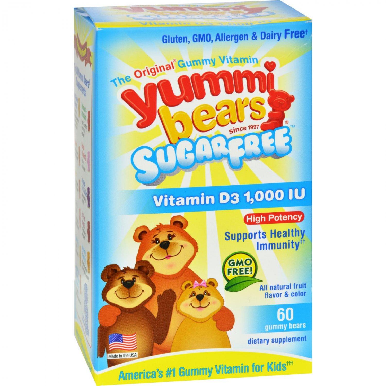 Hero Nutritional Products Yummi Bears Sugar Free Vitamin D3 - Fruit Flavors - 1000 IU - 60 Pack