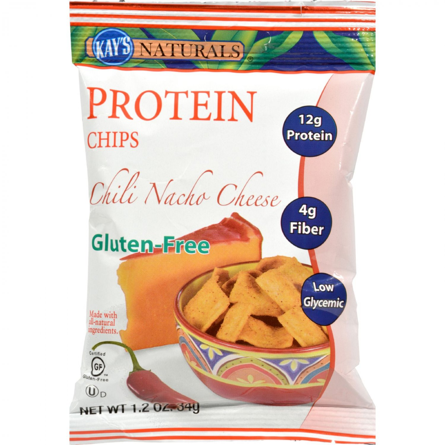 Kay's Naturals Better Balance Protein Chips Chili Nacho Cheese - 1.2 oz - Case of 6