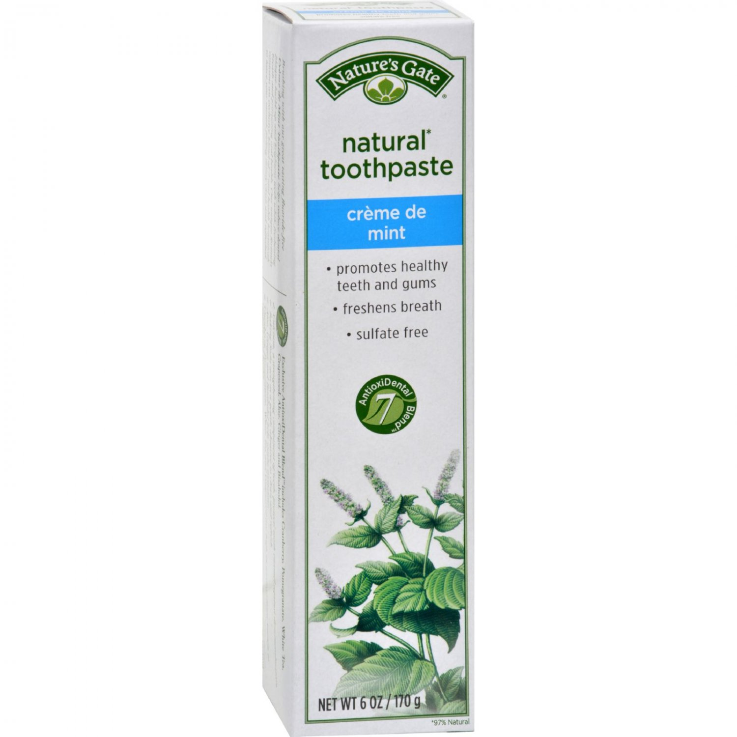 Nature's Gate Natural Toothpaste Creme De Mint Flouride Free - 6 oz - Case of 6