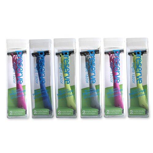 Preserve Triple Razor Display Case - Case of 12 - 12 Packs - Assorted Colors