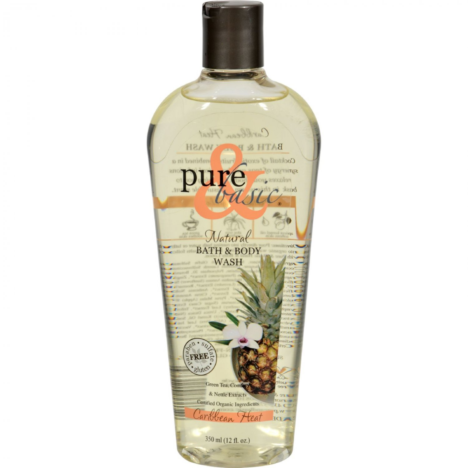 Pure and Basic Natural Bath and Body Wash Caribbean Heat - 12 fl oz