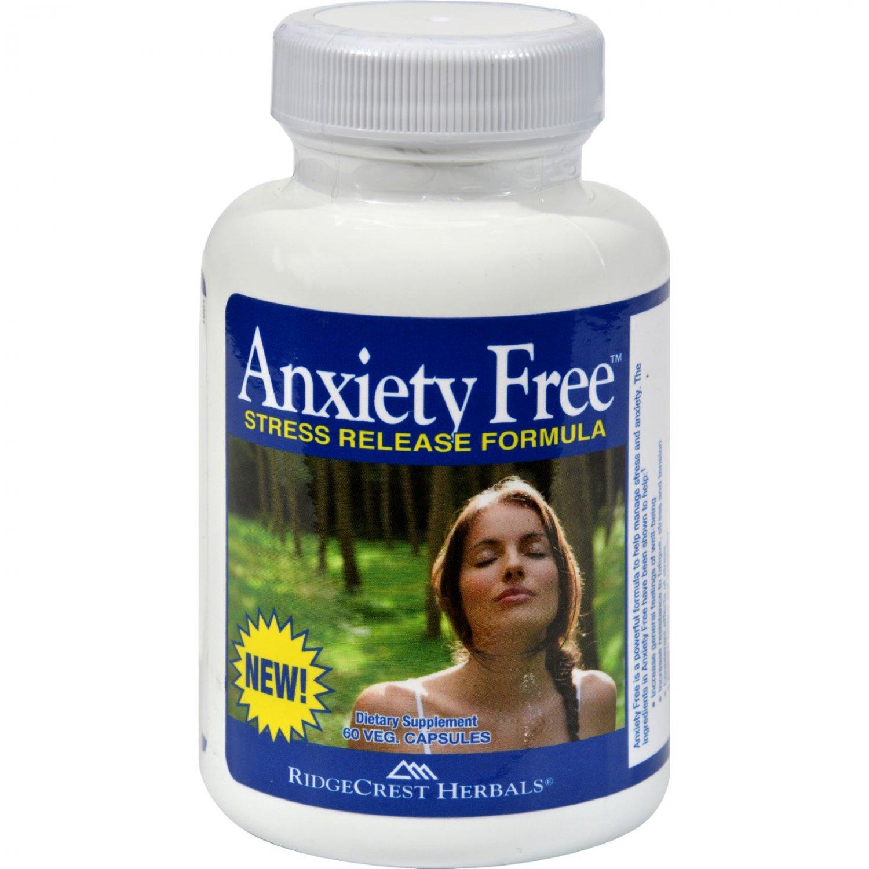 RidgeCrest Herbals Anxiety Free Stress Relief Formula - 60 Vegetarian Capsules