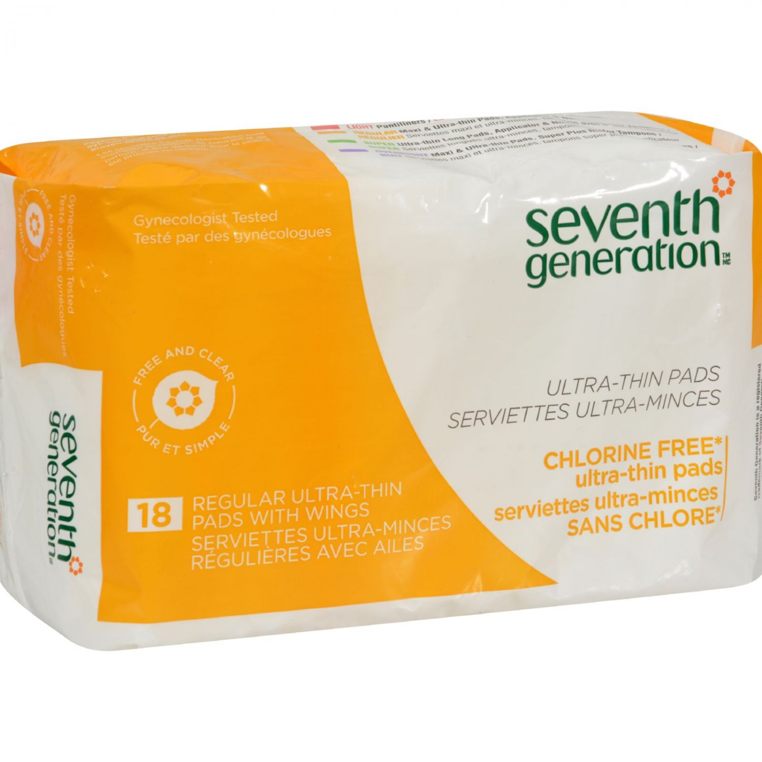 Seventh Generation Ultra Thin Maxi Pads - Chlorine Free - Regular with Wings - 18 Pads