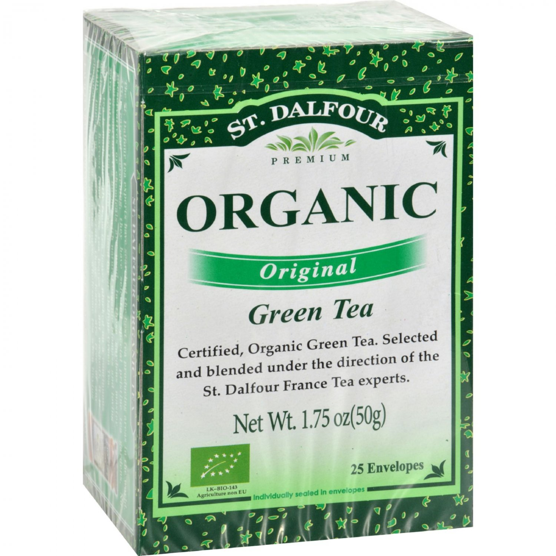 St Dalfour Organic Green Tea Original - 25 Tea Bags - Case of 6