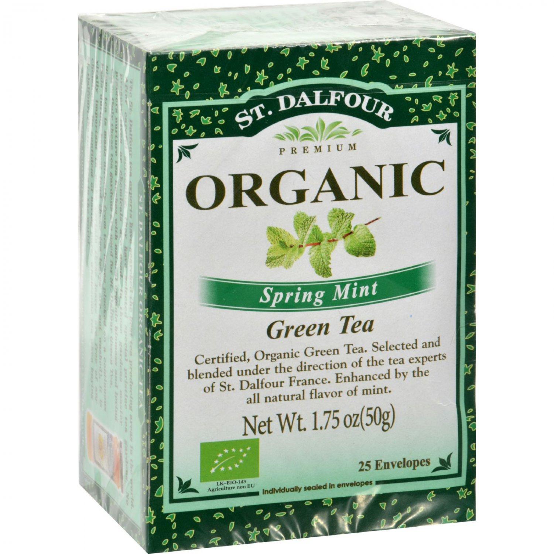 St Dalfour Organic Green Tea Spring Mint - 25 Tea Bags - Case of 6