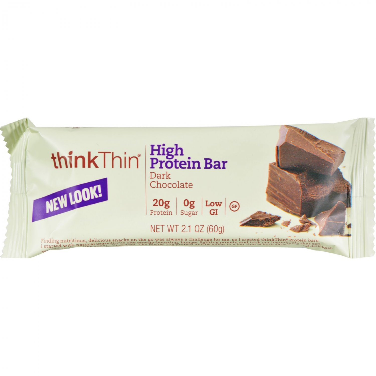 Think Products Thin Bar - Dark Chocolate - Case of 10 - 2.1 oz