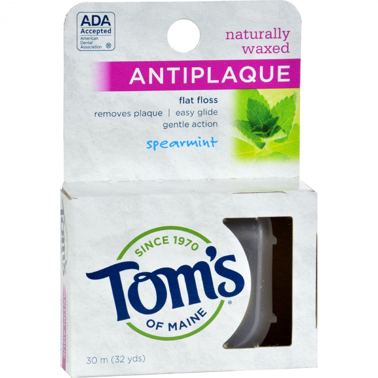 Tom's of Maine Antiplaque Flat Floss Waxed Spearmint - 32 Yards - Case of 6