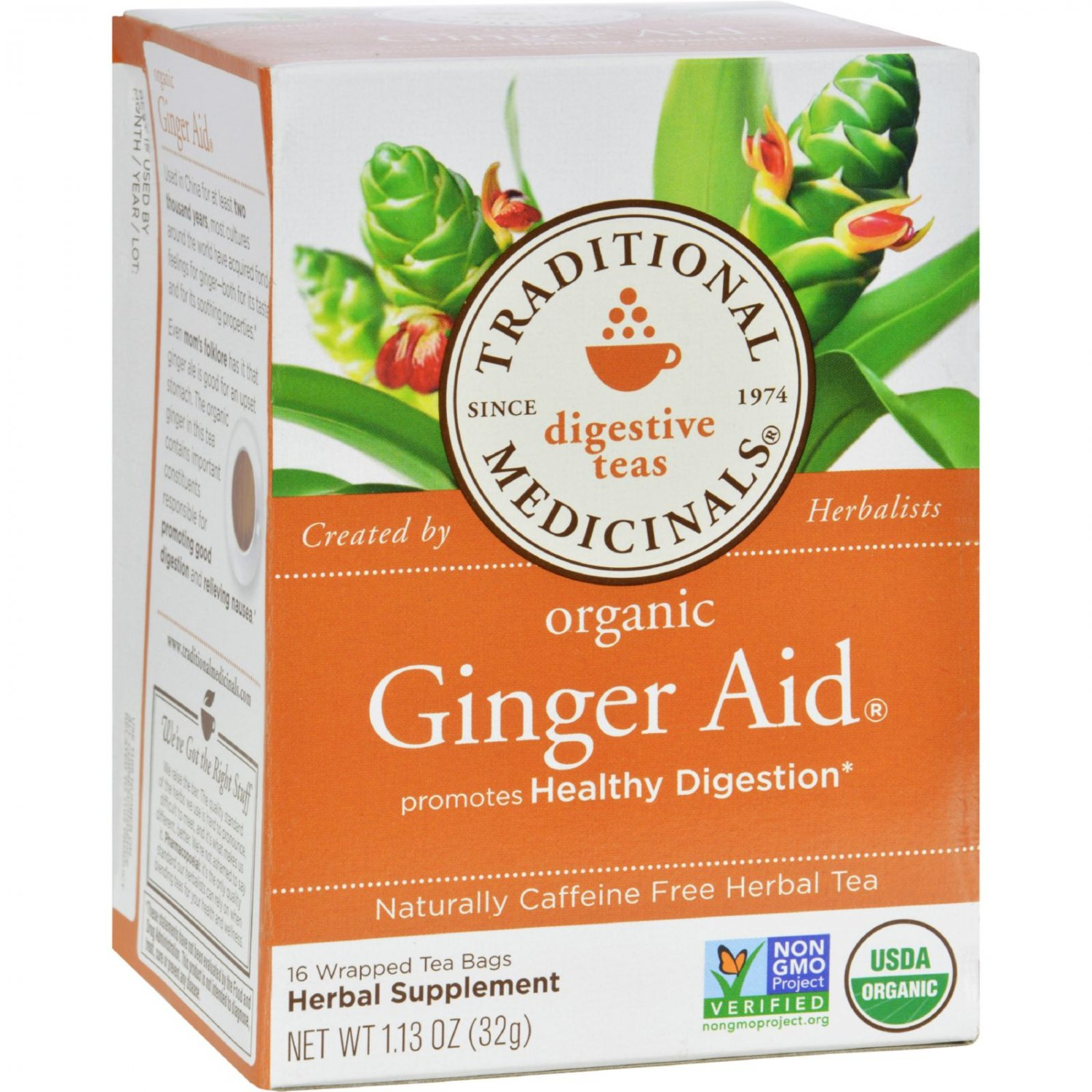 Traditional Medicinals Organic Ginger Aid Herbal Tea - Caffeine Free -16 Bags