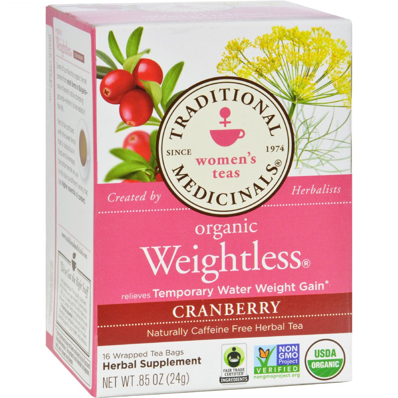 Traditional Medicinals Organic Weightless Cranberry Herbal Tea - 16 Tea Bags - Case of 6
