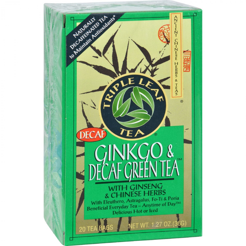Triple Leaf Tea Ginkgo and Green Tea Decaffeinated - 20 Tea Bags - Case of 6