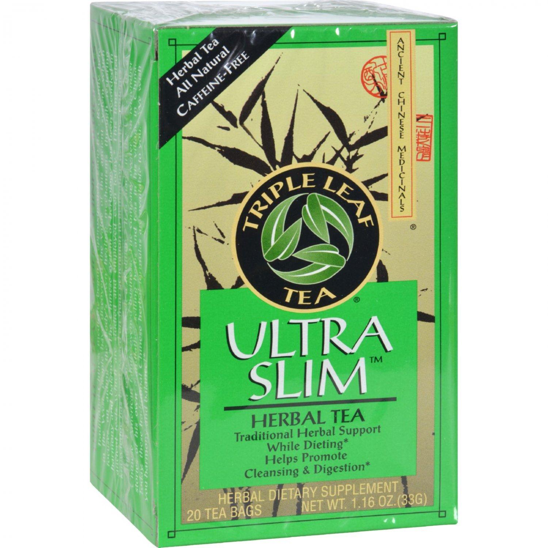 Triple Leaf Tea Ultra Slim Tea Decaffeinated - 20 Tea Bags - Case of 6