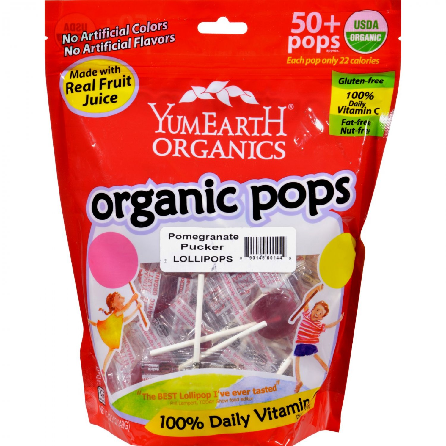 Yummy Earth Organic Pomegranate Pucker Lollipops - 12.3 oz