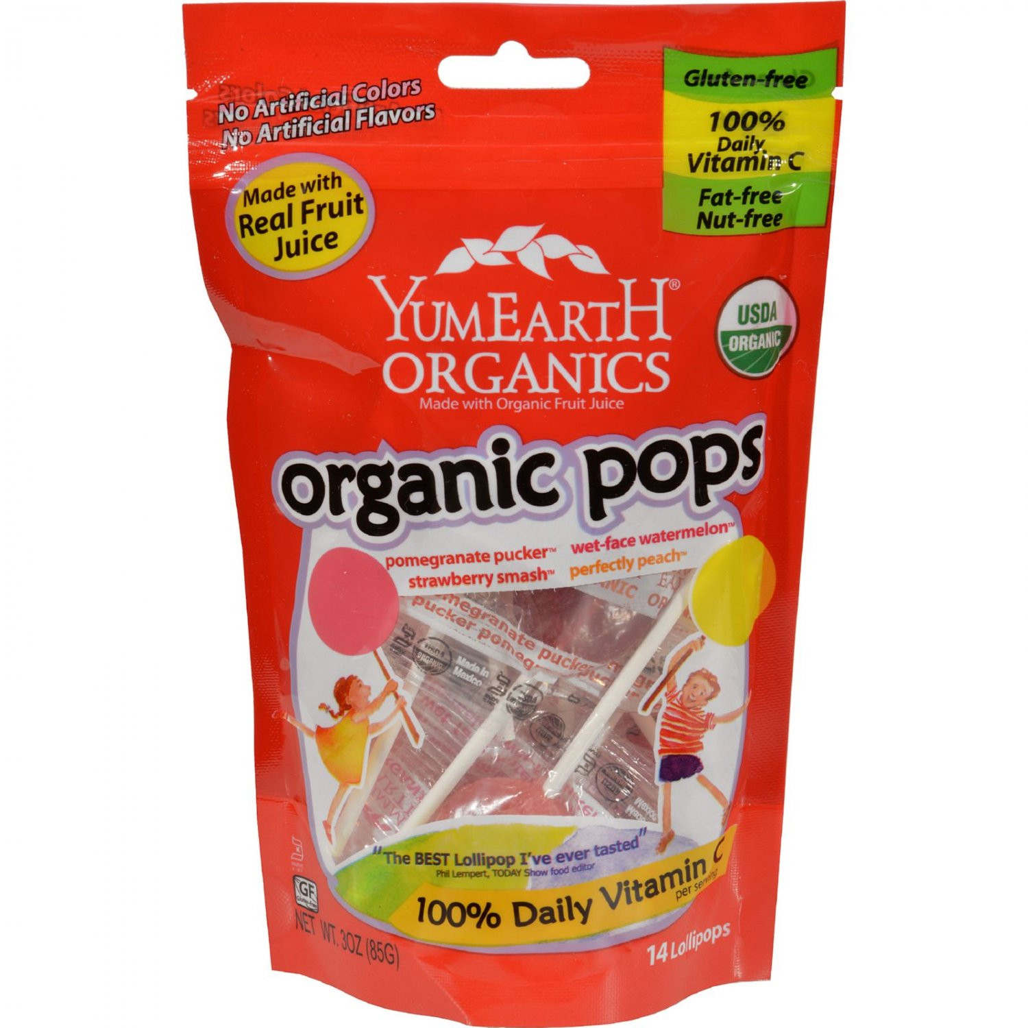 Yummy Earth Organic Lollipops Assorted Flavors - 3 oz - Case of 6