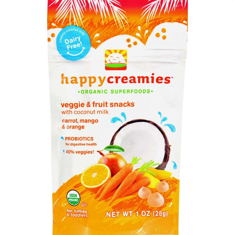 Happy Creamies Organic Snacks - Carrot Mango Orange - Case of 8 - 1 oz