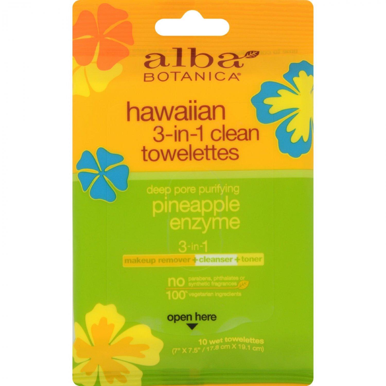 Alba Botanica 3 in 1 Hawaiian Towelettes - Case of 8 - 10 Count