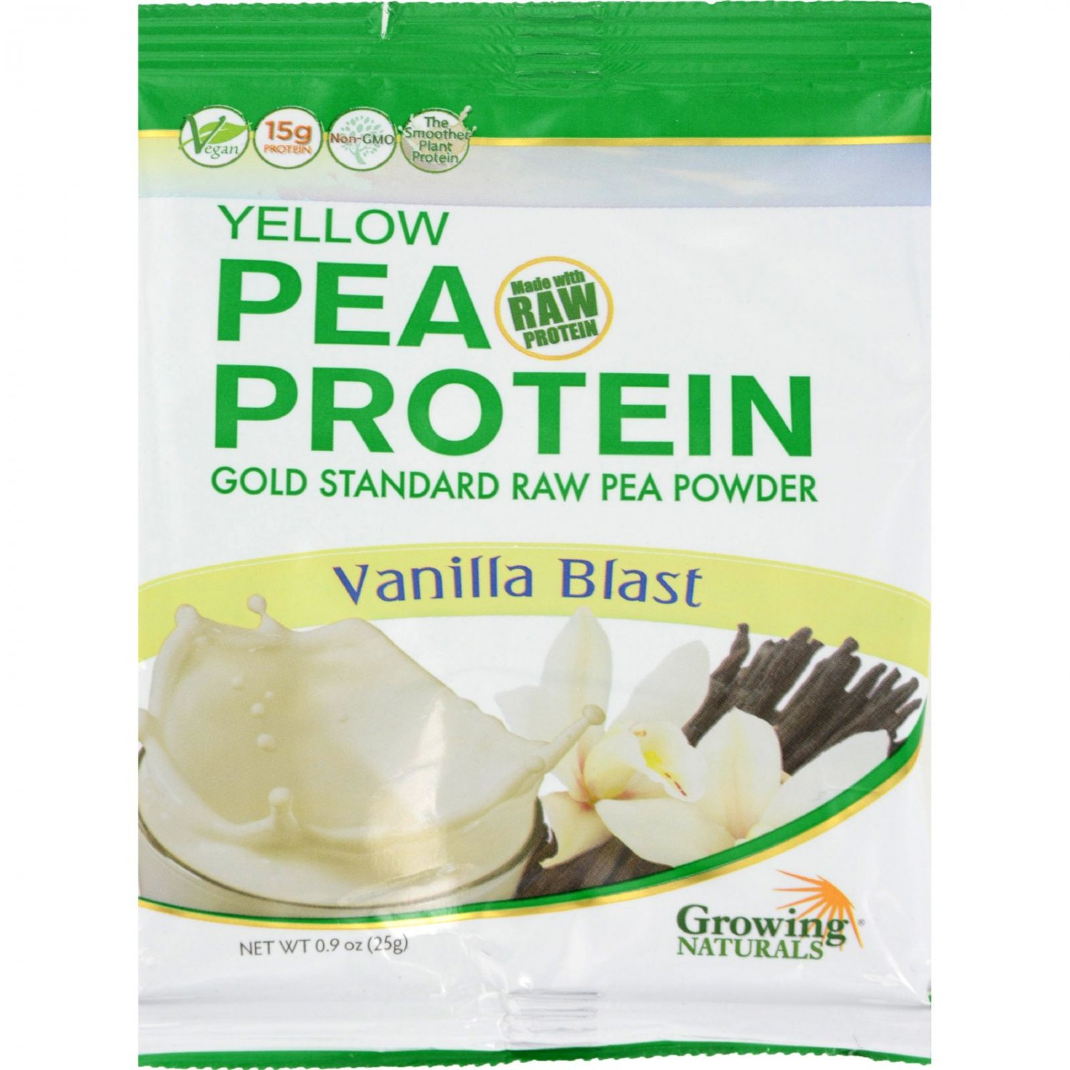 Growing Naturals Pea Protein Powder - Vanilla Blast Single Serve Packet - .9 oz - Case of 12
