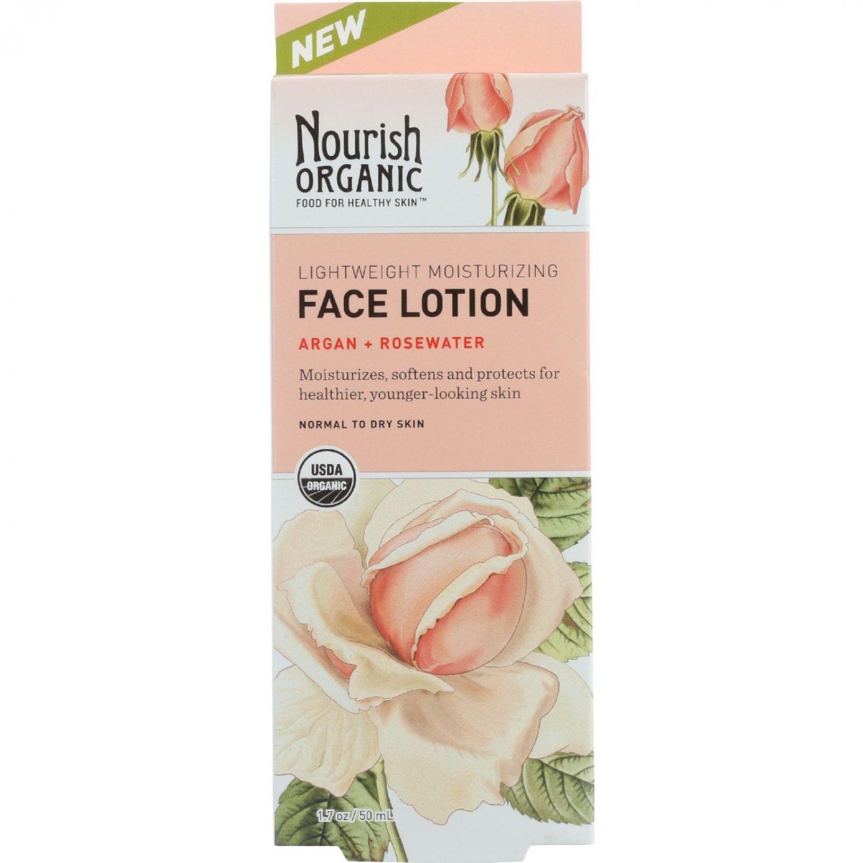 Nourish Facial Lotion - Organic - Lightweight Moisturizing - Argan and Rosewater - 1.7 oz - 1 each