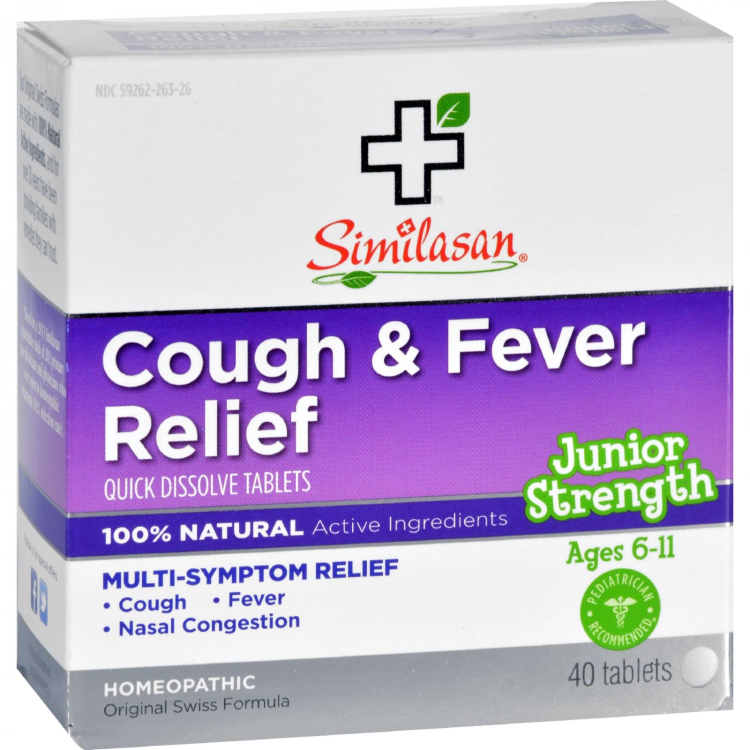 Similasan Cough and Fever Relief - Junior Strength - Ages 6 to 11 - 40 Tabs
