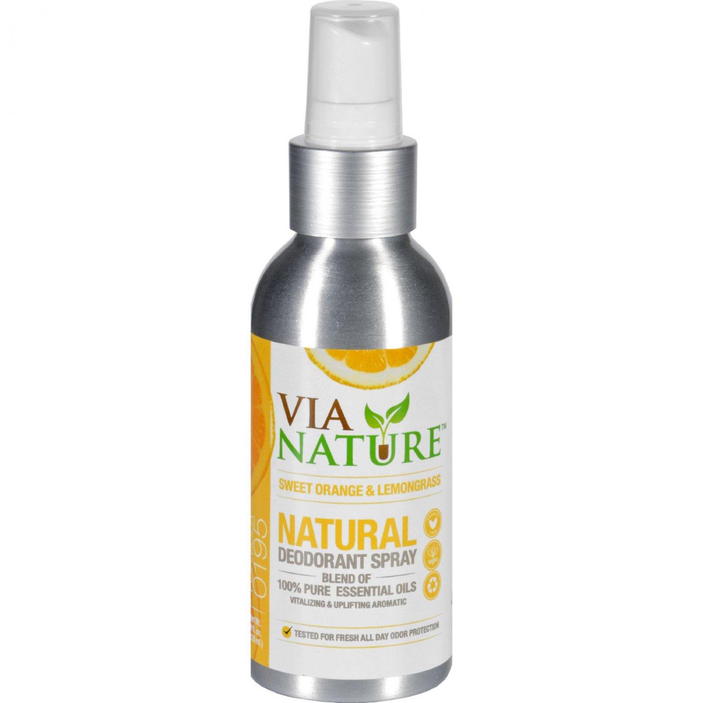 Via Nature Deodorant - Spray - Sweet Orange and Lemongrass - 4 fl oz