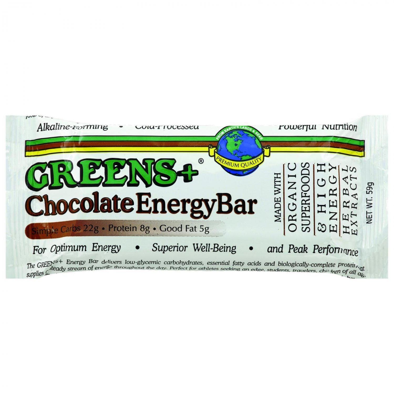 Greens Plus Plusbar Energy Bar - Chocolate - 2.08 oz Bars - Case of 12