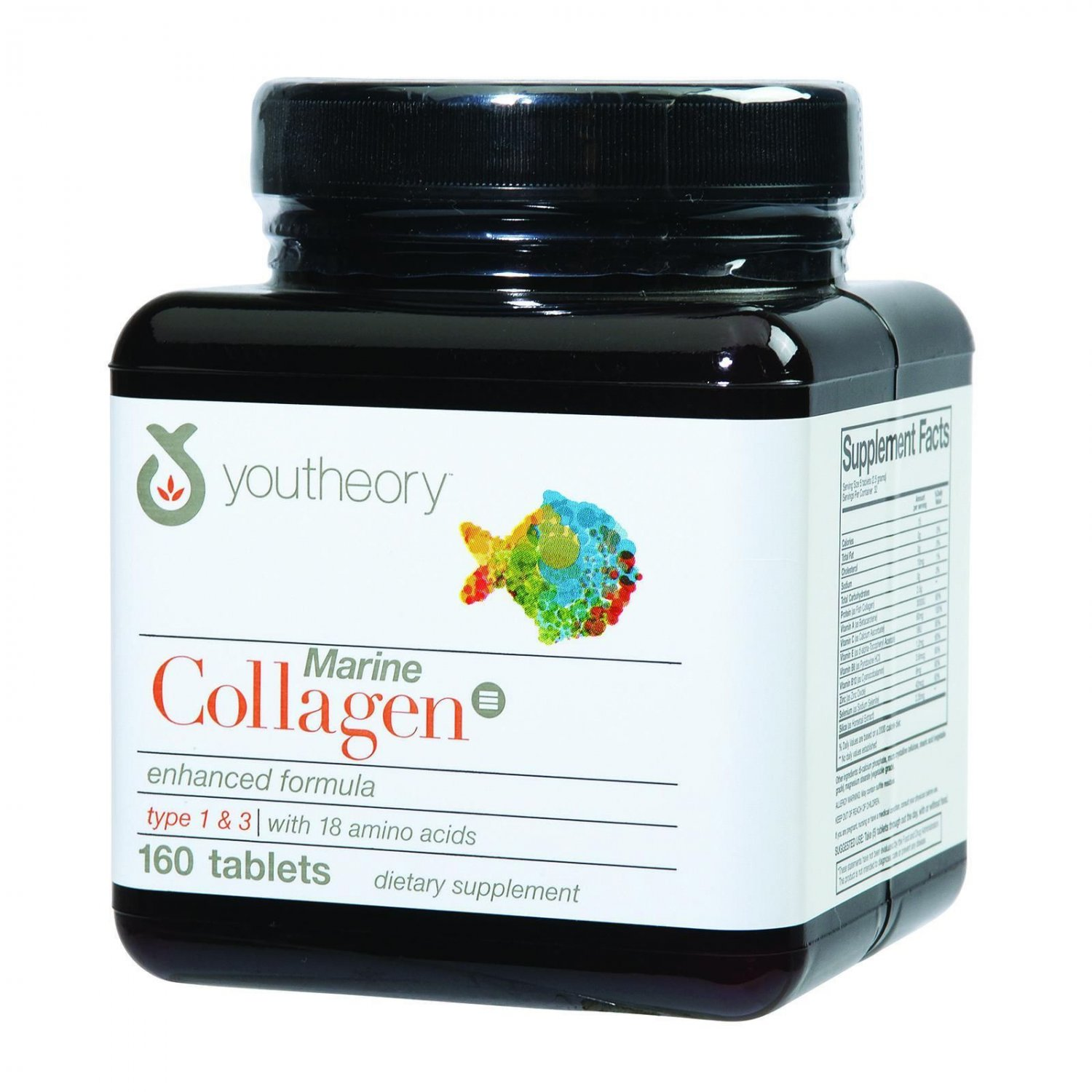 Youtheory Marine Collagen - Type 1 and 3 - Advanced Formula - 160 Tablets