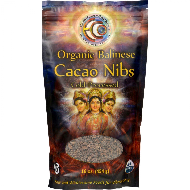 Earth Circle Organics Cacao Nibs - Organic - Sweetened - Balinese Raw - 16 oz