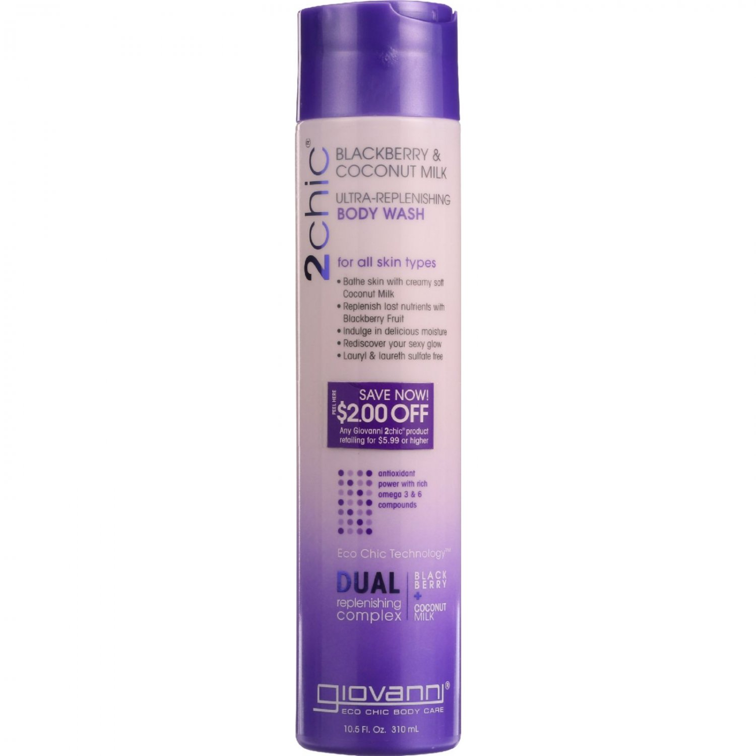 Giovanni Hair Care Products Bodywash - 2Chic - Ultra-Replenishing - Blackberry and Coconut Milk - 10