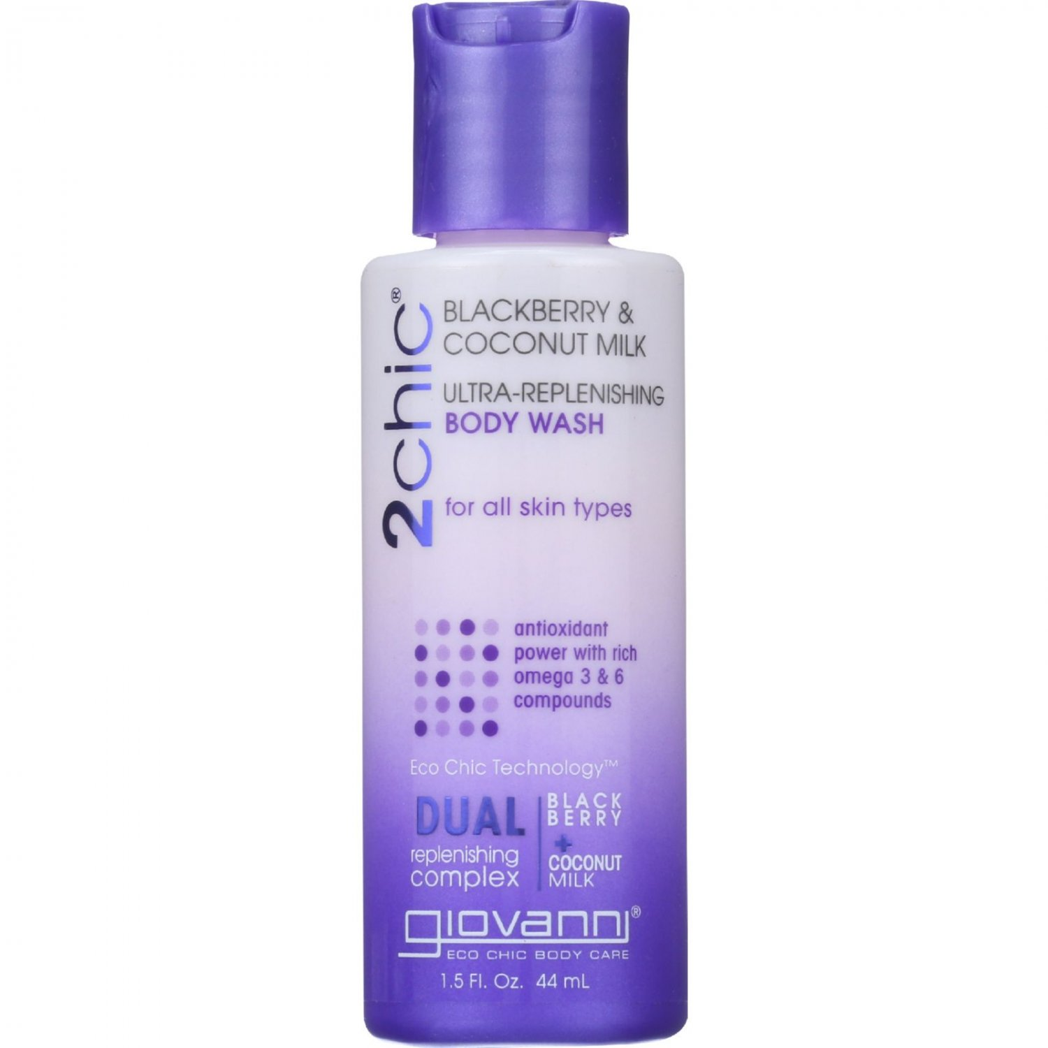 Giovanni Hair Care Products Bodywash - 2Chic - Ultra-Replenishing - Blackberry and Coconut Milk - 1.