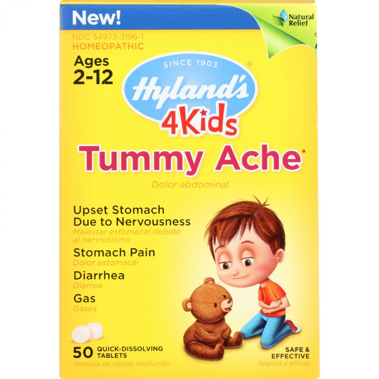 Hylands Homeopathic Tummy Ache - 4 Kids - 50 Quick-Dissolving Tablets