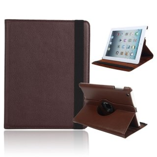 iPad 2/3/4 Brown leather case 360 Degree Rotating