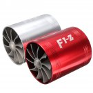 Universal Car Turbo Supercharger Air Intake Dual Fan Turbonator Gas Fuel Saver colors, RED OR SILVER