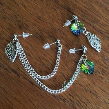 Triple Piercing Heart Leaf Nature Earrings