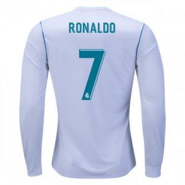 new arrival 201fe 1877d MEN Cristiano Ronaldo LS Real Madrid 2017/18 Home #CR7 Jersey -