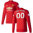 Man United 2018 Home Custom Long Sleeve Jersey - Red