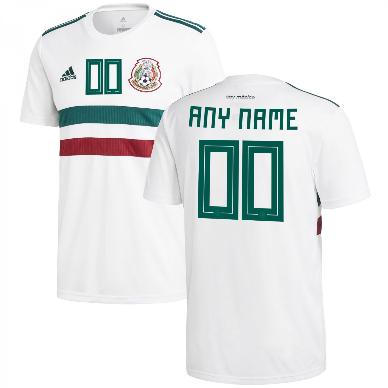 super popular 0ce38 31a4d Mexico National Team 2018-2019 Away Blank Custom Jersey â White/Green