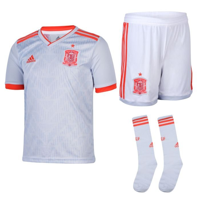 Spain away grey World Cup 2018-2019 Jersey W Shorts Kid Youth For Age 3-13
