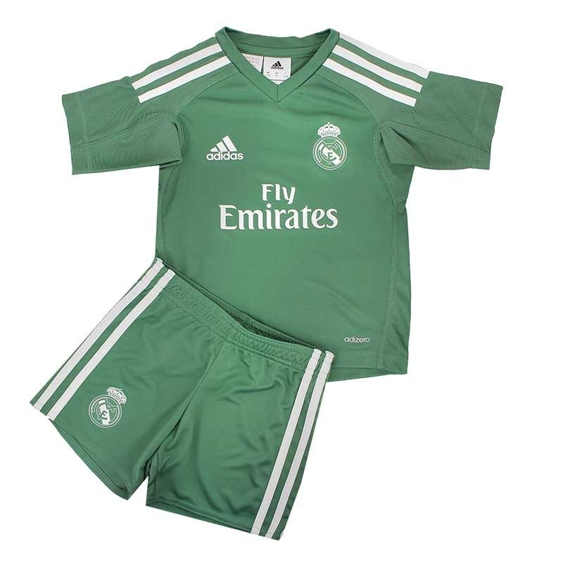 Real Madrid green goalkeeper 2018-2019 Jersey W Shorts Kid Youth For Age 3-13