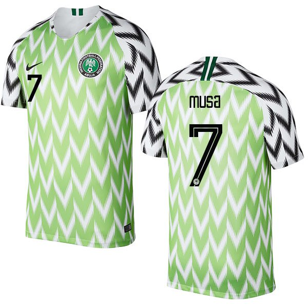 AHMED MUSA #7 Nigeria Team 2018-2019 Home Free Shipping Jersey � Green