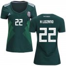 Women's Hirving Lozano #22 Mexico 2018-2019 Home Jersey - Green-Best Quality