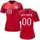 ENGLAND WOMEN'S 2018-2019  Away Football Custom Jersey -Red/Best Quality