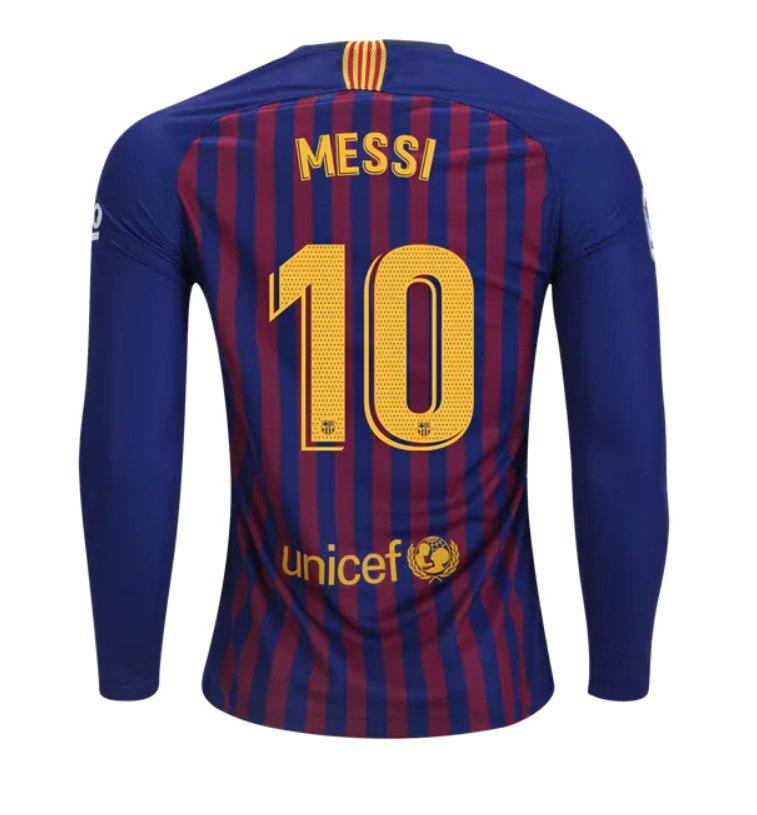 promo code 62cb3 70192 FAN SHIRT Messi #10 FC Barcelona Jersey Long Sleeve 2018-2019 Home Free  Shipping