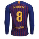 FAN SHIRT Andres Iniesta #8 FC Barcelona 2018-2019 Home Jersey Long Sleeve Free Shipping