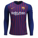 Men's FC Barcelona 2018-2019 Home Stadium Player Jersey Long Sleeve– Blue