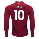 Sadio Mane #10 Liverpool Long Sleeve 2018/2019 Home SOCCER Jersey -Red