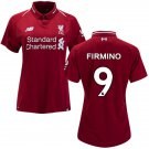 Women's #9 Roberto Firmino Liverpool 2018/2019 Home SOCCER Jersey -Red