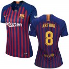 Arthur #8 Women's FC Barcelona 2018/2019 Soccer  Home Jersey Blue - Red  La Liga Club