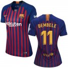 Ousmane Dembele #11 Women's FC Barcelona 2018/2019 Soccer  Home Jersey Blue - Red  La Liga Club