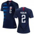 Women's #2 DeAndre Yedlin 2019 Soccer USA  Away Jersey Navy Short Shirt