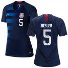 Women's #5 Matt Besler  2019 Soccer USA  Away Jersey Navy Short Shirt
