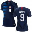 Women's #9 Gyasi Zardes 2019 Soccer USA  Away Jersey Navy Short Shirt